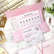 60 PCS Boarding Pass & Map Wedding Invite with Pink Theme