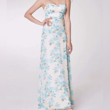 No Strap Long Floral Print Bridesmaids Dress with Perfect Fit