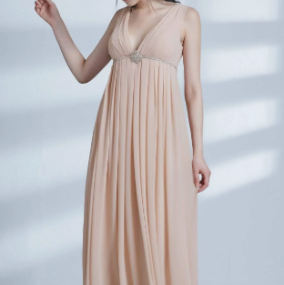 Beige V-Neck Empire Long Waist Bridesmaids Dress with Perfect Fit