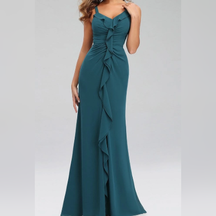 Teal Blue Sleeveless Bridesmaids Dress with Perfect Fit with Center Ruffles