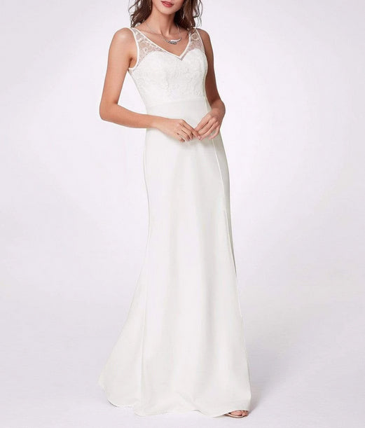Lace V Neck Simple Wedding Dress with Slide Slit