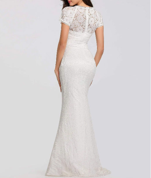 Sexy Lace Simple Wedding Dress with Short Sleeve