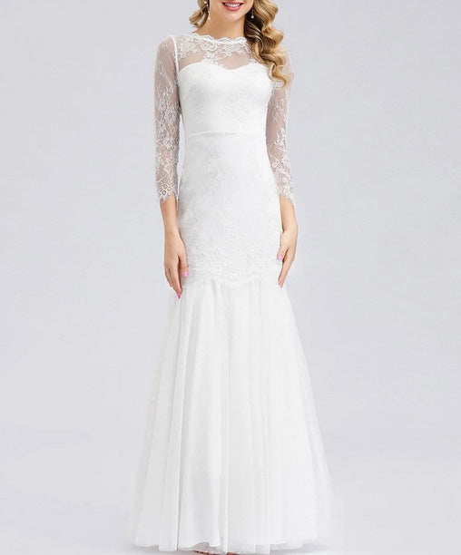 Simple Wedding Dress Mermaid with Lace See-Through Long Sleeve
