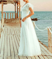 A-Line Simple Wedding Dress with Ruffles Sleeve