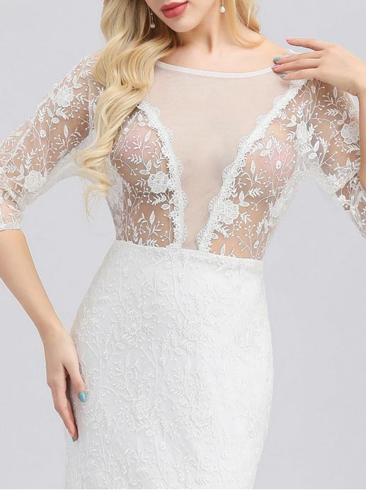 Long Sleeve Simple Wedding Dress with See-Through V- Neck Top