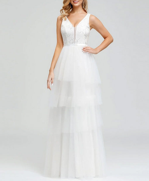Sleeveless Simple Wedding Dress with Layered Design Skirt