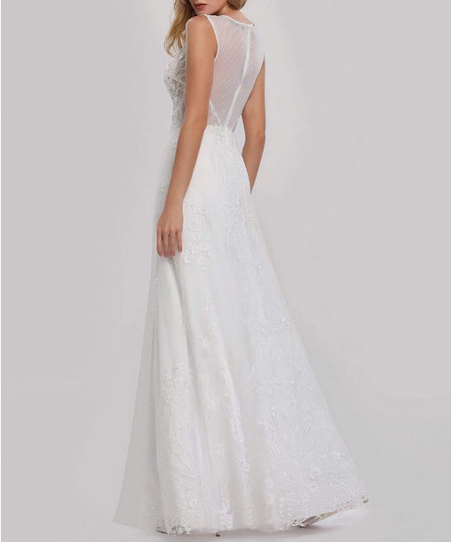 Simple Wedding Dress Floral Embroidered with See Through Back