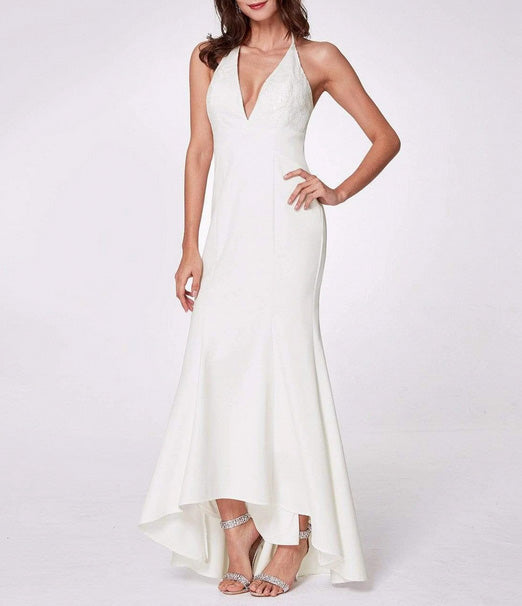 Classic Halter Simple Wedding Dress