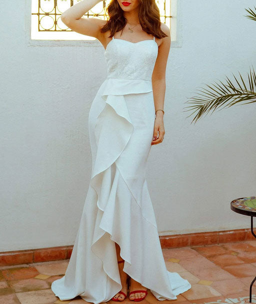 Spaghetti Strap Simple Wedding Dress with Side Ruffled Slit  Skirt