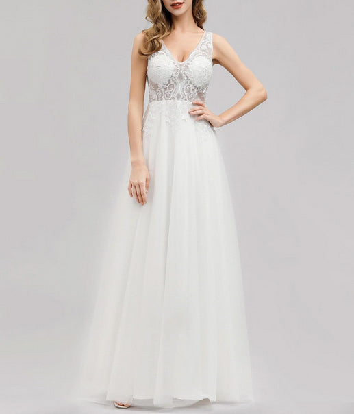 Chiffon Lace Simple Wedding Dress Sleeveless with V- Neckline