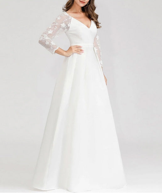 Simple Wedding Dress Satin  with Floral Lace Design Long Sleeve