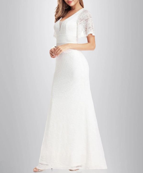 Boho Floral Lace A-Line Simple Wedding Dress with Dropped Shoulder Sleeve