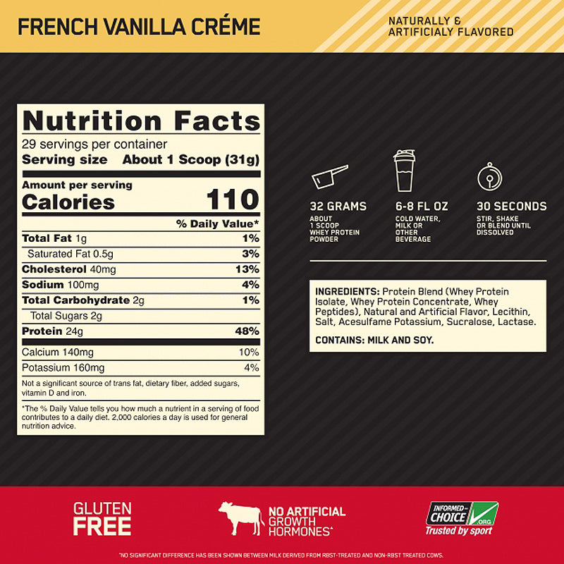 Optimum Nutrition GOLD STANDARD 100% WHEY - 2Lbs. The World's Best-Selling Whey Protein Powder