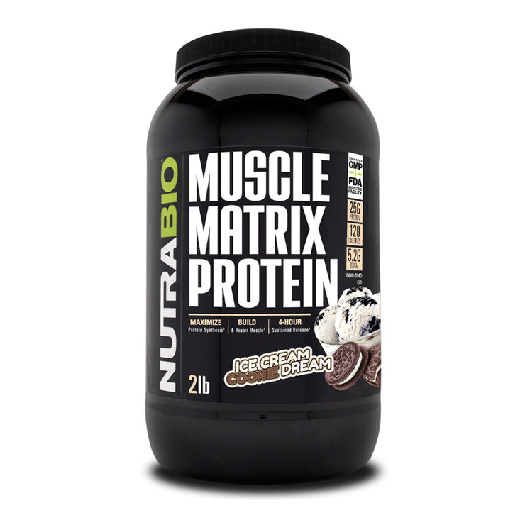 Nutrabio Muscle Matrix (Ice Cream Cookie Dream) - 2 Pounds Slow Digesting Anti-Catabolic Protein