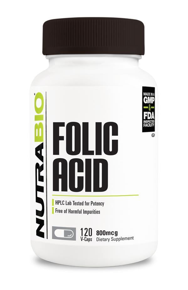 Nutrabio Folic Acid (800 mcg) - 120 Vegetable Capsules