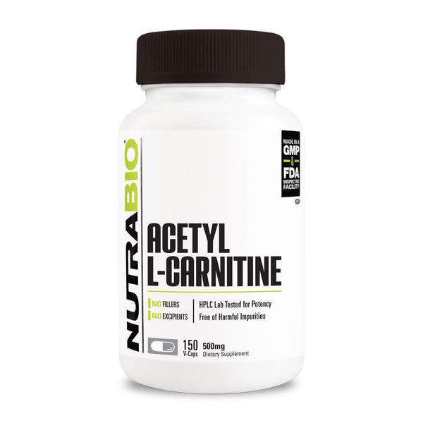 Nutrabio Acetyl L-Carnitine (500mg) - 150 Vegetable Capsules