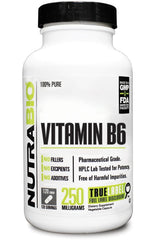 Nutrabio Vitamin B-6 (250mg) - 120 Vegetable Capsules