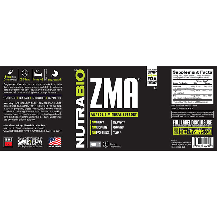Nutrabio ZMA - 180 Vegetable Capsules Anabolic Mineral Support