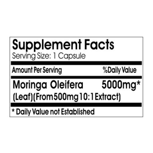 Moringa Oleifera Extract 5000mg - 180 Capsules - Rockland Supplements