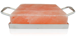 "Himalayan Salt Cooking Block 8"" x 8"" x 2"" With Stainless Steel Holder - Himalayan Secrets™"