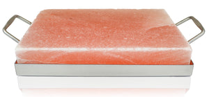"Himalayan Salt Cooking Block 12"" x 8"" x 2"" With Stainless Steel Holder - Himalayan Secrets™"