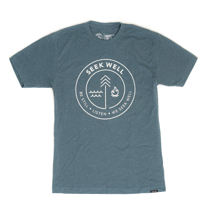 Hand Crafted Christian T-Shirts - The Badge Tee in Indigo