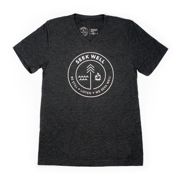 Hand Crafted Christian T-shirts- The Badge T-shirt in Heather Black