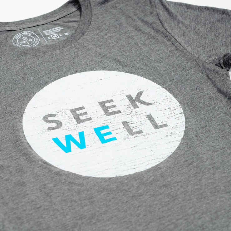 Hand Crafted Christian T-shirts- We Seek Well T-shirt in Heather Grey