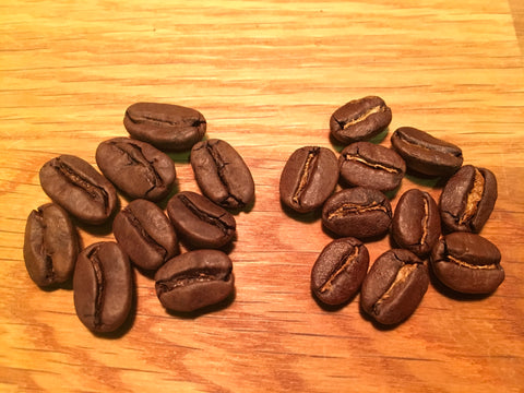 Roasted - Decaf left, Caffeinated right