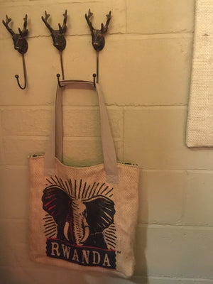 Coffee Sack Hessian Tote Bag with Elephant motif / SOLD OUT