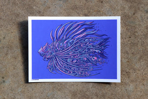 5x7 Limited Edition Lionfish Screen Print w/ Glow