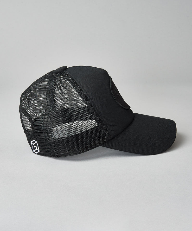 All Black Script Trucker