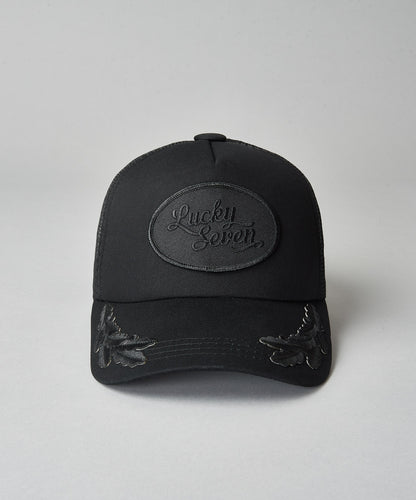 All Black Script Trucker with Crests
