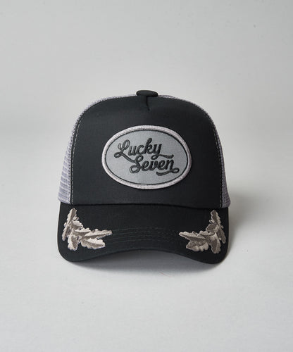 Black and Grey Script Trucker With Crests