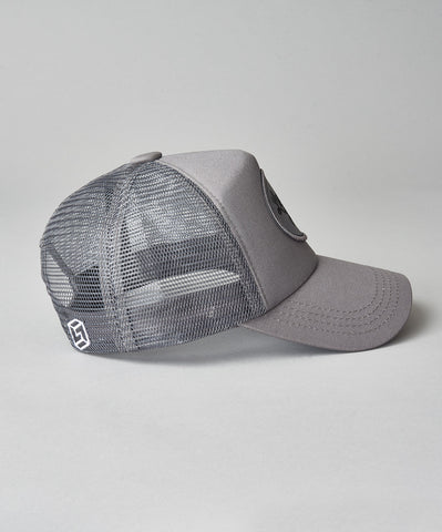 All Grey Script Trucker