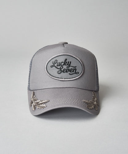 All Grey Script Trucker With Crests