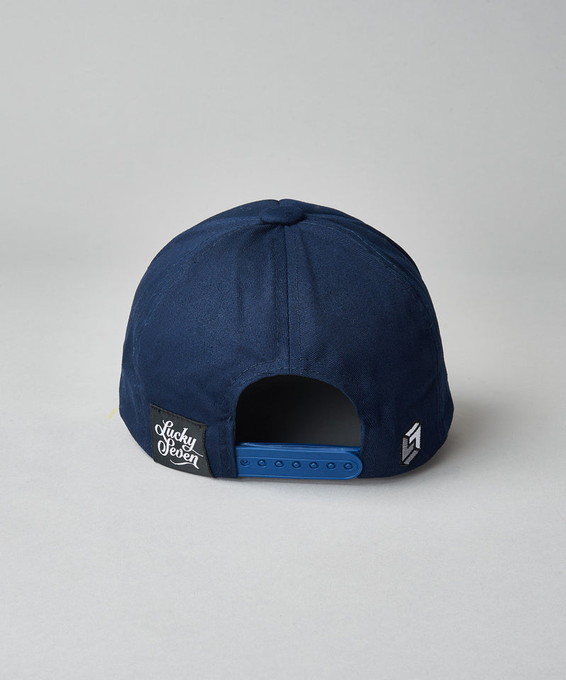 Navy Script Cloth Back Trucker- Navy
