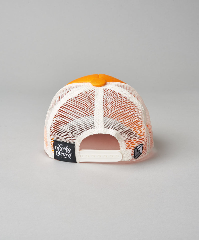 Kids Orange Script Trucker