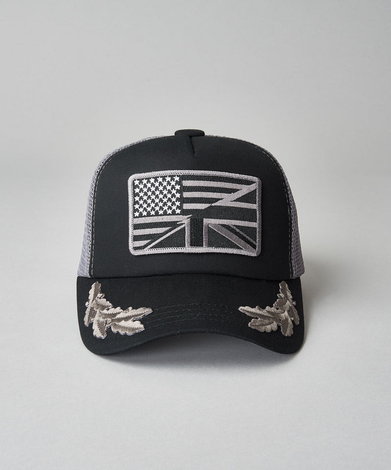 United Kingdom of America Black-Grey Trucker With Crests