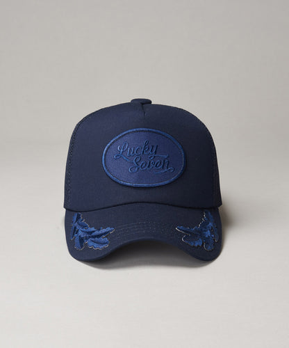 All Navy Script Trucker With Crests