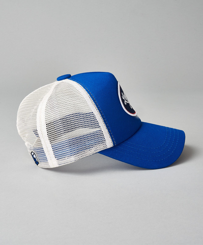 Royal Blue Two Tone Script Trucker