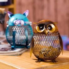 Metal Art Owl & Cat Piggy Bank 2 Pc Set - The Creature Getup