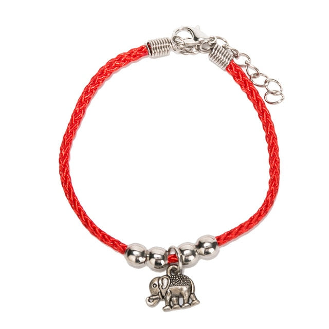 Vintage Red Elephant Charm Rope Bracelet - The Creature Getup