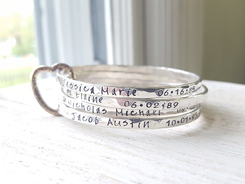 All In My Heart hand stamped personalized sterling silver bangles Christina Guenther Jewelry