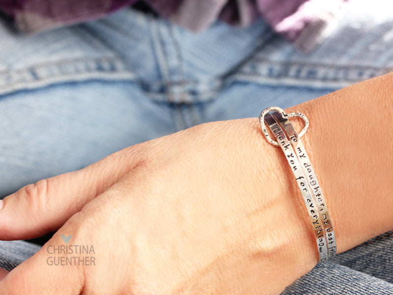 All In My Heart personalized sterling silver bangles Christina Guenther Jewelry