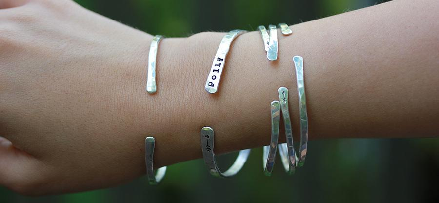 Embrace Me Cuff personalized hand stamped name cuff bracelet Christina Guenther Jewelry