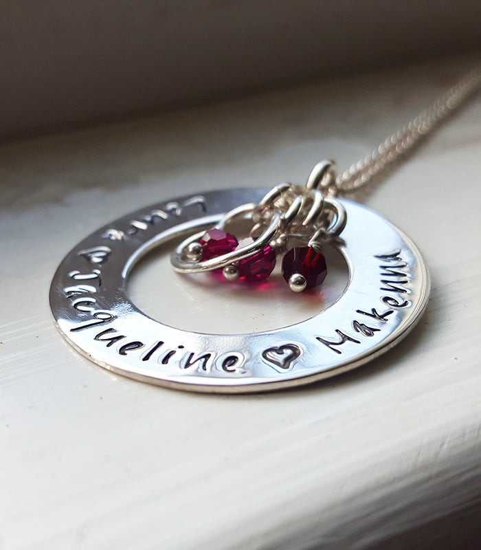 Circle of Life Mother's Necklace Hand Stamped Custom Personalized with Children's Names Christina Guenther Jewelry