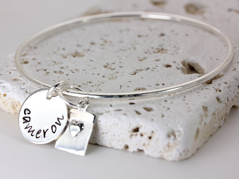 Heart and Love Personalized Name Bangle Hand Stamped Christina Guenther Jewelry
