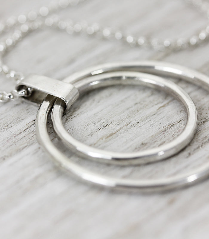Imperfect Balance handmade sterling silver open circle necklace Christina Guenther Jewelry