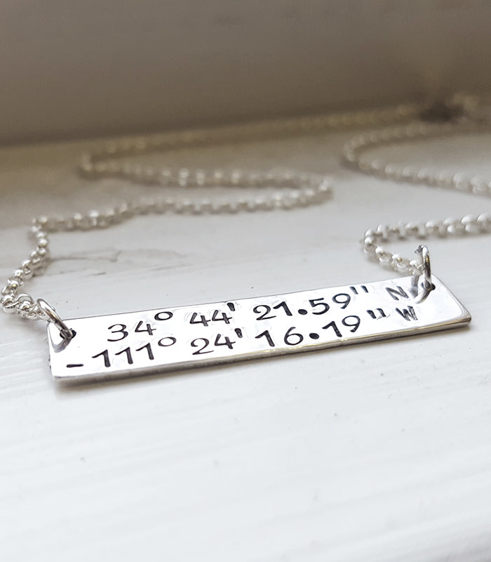 Latitude Longitude Hand Stamped Personalized Bar Pendant Location Necklace Christina Guenther Jewelry